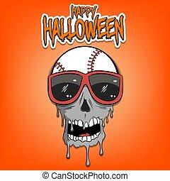 Happy Halloween. Baseball ball with skull