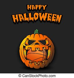 Happy Halloween. Basketball ball inside frightening pumpkin. The pumpkin swallowed the ball with burning eyes. Design template for banner, poster, greeting card, party invitation. Vector illustration