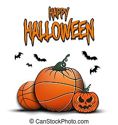 Happy Halloween. Template basketball design. Basketball balls in the form of a pumpkins on an isolated background. Pattern for banner, poster, greeting card, party invitation. Vector illustration