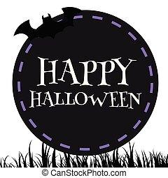 Happy Halloween Bat Black Circle Frame Background Vector Image