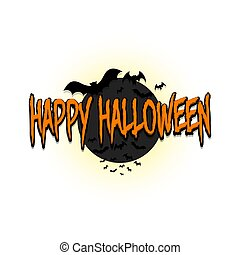 Happy halloween. Bats on the background of the moon