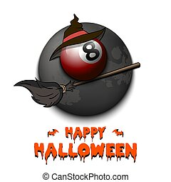 Happy Halloween. Billiard ball with witch hat on a broomstick against the background of the moon. Pattern for banner, poster, greeting card, flyer, party invitation. Vector illustration