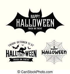 Happy Halloween black and white design collections vector