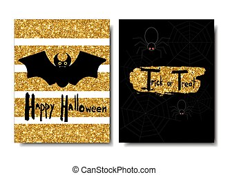 Happy Halloween. Black bat on a golden background. Spiders and web.Universal card, banner, label.