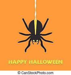 Happy Halloween. Black spider. Cute cartoon character. Flat design