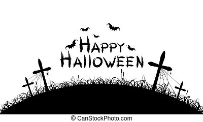 Happy halloween. Black text banner on a white background. Cemetery with crosses. Spiders, bats and spiderweb. Grunge text. Vector