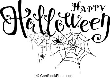 Happy Halloween black vector lettering with spider web and spiders. Elements for your design.