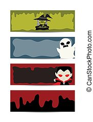 halloween blood character banner set - happy halloween blood...