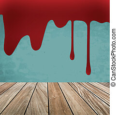 Happy Halloween. Blood dripping on brick wall. Vector illustrati