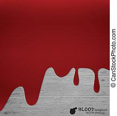 Happy Halloween. Blood dripping on wood wall. Vector illustratio