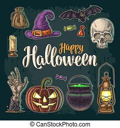 Happy Halloween calligraphy lettering and set vector vintage engraving
