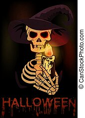 Happy Halloween card. A skull in a witch's hat holds a lighted candle. vector illustration