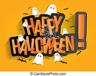 Happy Halloween Card Design Elements On Background, vector ...
