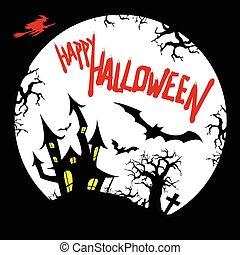 Happy Halloween Card Design with Copy Space
