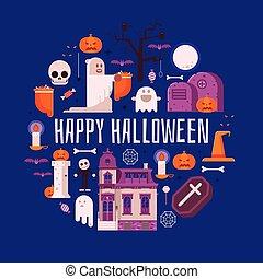 Happy Halloween Card in Flat Design
