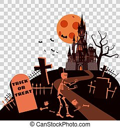 Happy Halloween Card Template Background, Moon Skeleton Cemetery Castle Bats Spooky, Vector Illustration Banner Isolated
