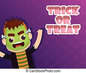 happy halloween card trick of treat lettering and frankenstein character