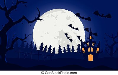 happy halloween card with castle and bats flying in cemetery scene