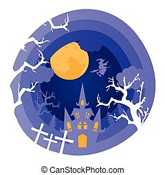 happy halloween card with castle in cemetery scene