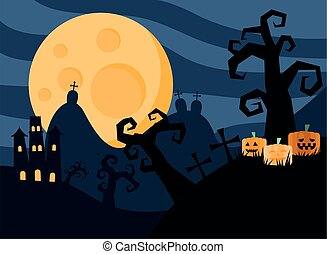 happy halloween card with castle in dark cemetery
