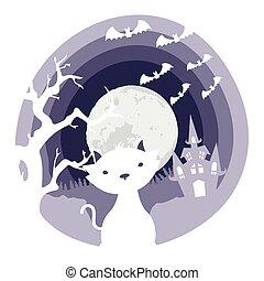 happy halloween card with cat in castle scene
