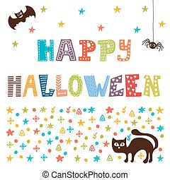 Happy Halloween card with cat, spider and bat