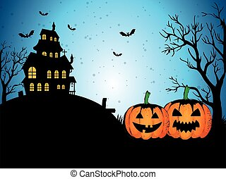 happy halloween card with enchanted castle
