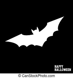 Happy Halloween card with flying bat.