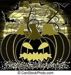 Happy Halloween card with pumpkin, vector illustration