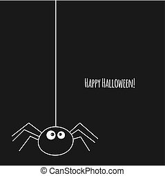 happy halloween card with spider on black background