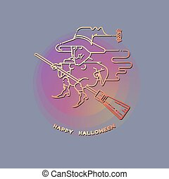Happy Halloween card with witch on a broom.