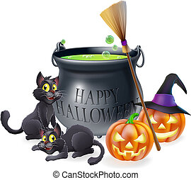 A happy Halloween cartoon illustration of witches cauldron, cats and carved pumpkins