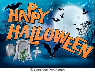 Happy Halloween Cartoon Sign