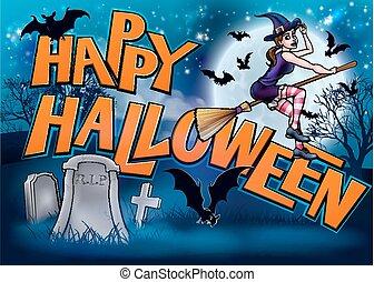 Happy Halloween Cartoon Witch Sign