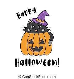 Happy Halloween cat in pumpkin