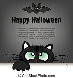 Happy halloween  cat is looking up at the bat  Happy