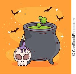 happy halloween, cauldron with skull and candle
