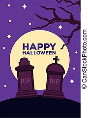 happy halloween celebration card with moon in cemetery scene