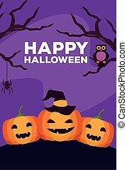 happy halloween celebration card with pumpkins and owl night scene