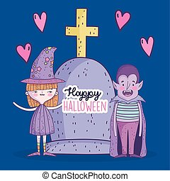 happy halloween celebration girl witch and boy dracula with tombstone