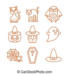 happy halloween celebration icons set color line
