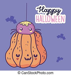 happy halloween celebration pumpkin with spider and bats