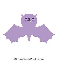 happy halloween celebration purple bat with open wings