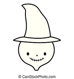 happy halloween celebration skeleton face with witch hat line style