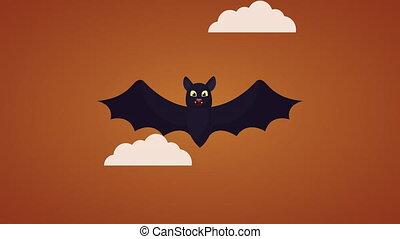 happy halloween celebration with bats flying animation - ...