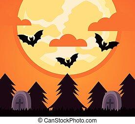 happy halloween celebration with bats flying in cemetery night scene