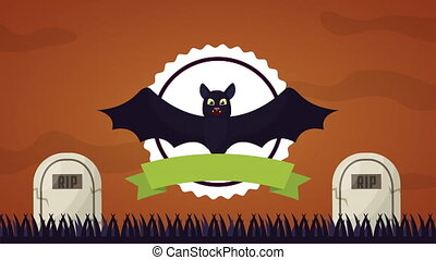 happy halloween celebration with cemetery animation - happy...