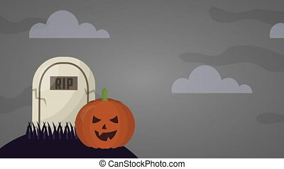 happy halloween celebration with graveyard animation - happy...