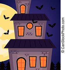 happy halloween celebration with haunted castle and bats flying at night