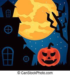 happy halloween celebration with haunted castle and pumpkin at night